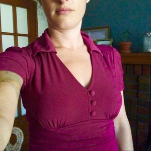 Wine coloured blouse